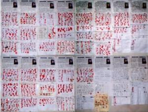 Kırmızı boyalı parmak işareti, eski Çin'de, devlet yetkilileri tarafından çok büyük bir adaletsizlik yapıldığında, bu durumu protesto etmek için kullanılan bir yöntemdi ve hala bugün de aynı anlamı sembolize etmektedir.