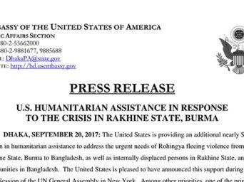 ABD'den Rohingya Müslümanlarına Büyük Destek