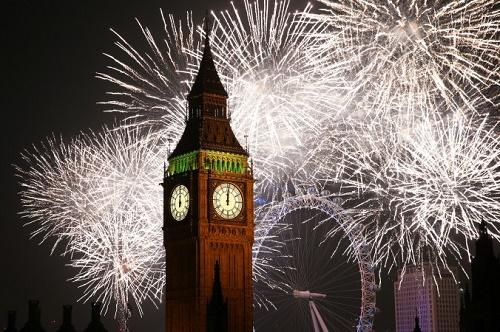 1 Ocak 2015 yılbaşı kutlamaları sırasında Big Ben (Peter Macdiarmid/Getty Images)