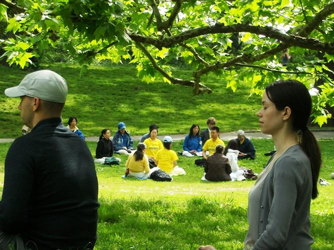 Falun Dafa uygulayıcıları Central Parkta egzersiz yapıyorlar