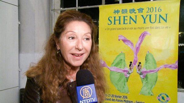 25 Şubat 2016, besteci ve gazeteci Francesca Aeschlimann, Cenevre Bâtiment des Forces Motrices'de, Shen Yun Gösteri Sanatları Grubu ziyareti sırasında. ( Fotoğraf: NTD Televizyon)