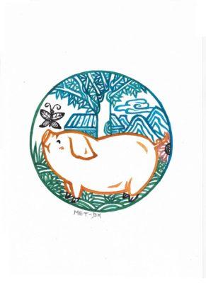 Şanslı ve zeki domuz refah dolu bir yıl ile geliyor. İllüstrasyon: Blue Hsiao / Epoch Times