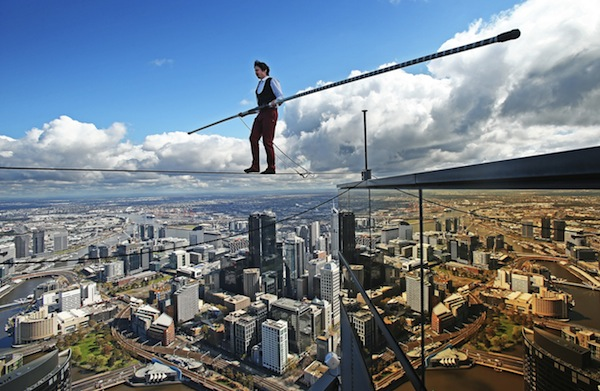 High-wire Artist Kane Petersen Performs Tightrope Walk Over Melbourne CBD