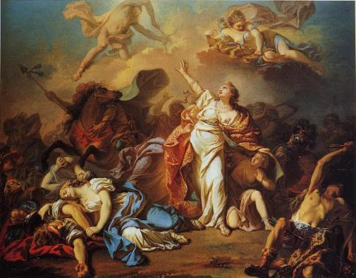 Jacques Louis David 1772- Niobe'nin Apollo ve Artemis'ten çocuklarını korumaya çalışması