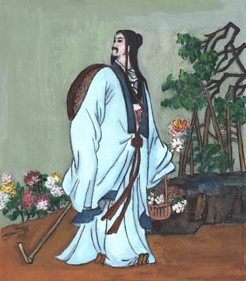 """Tao Yuanming, """"Kırların ve Bahçelerin"""" ilk büyük şairi. İllüstrator: Kiyoka Chu"""